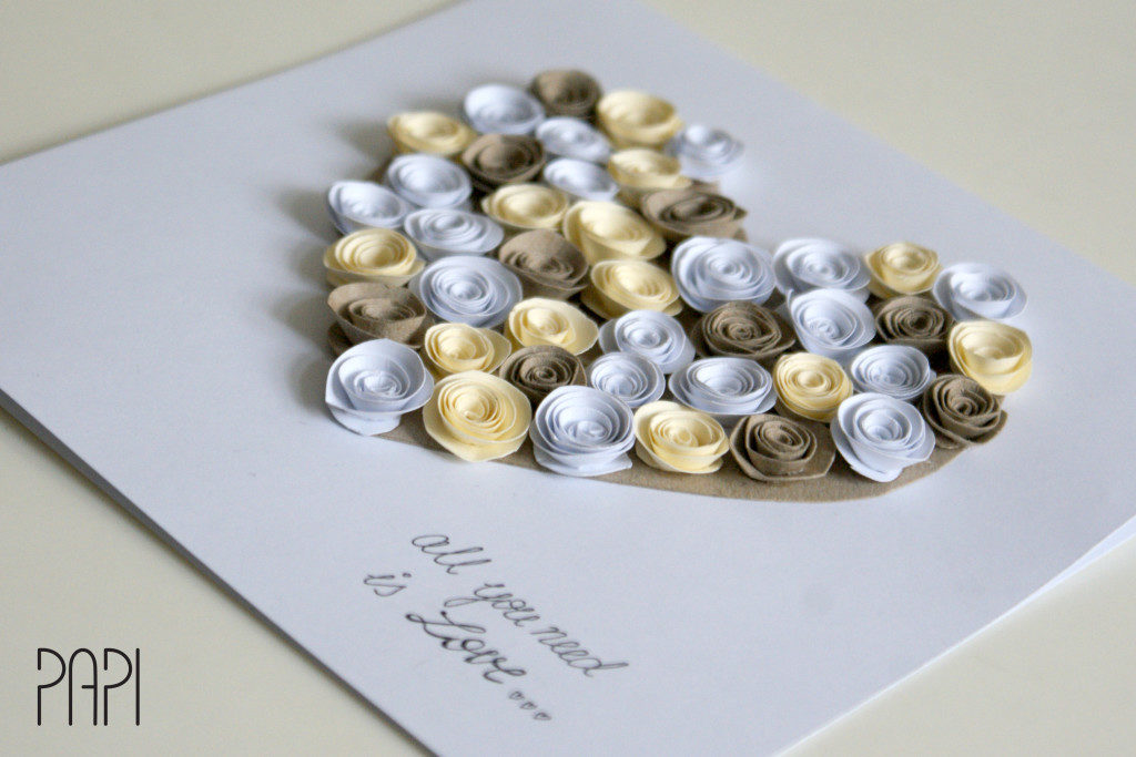 kartka ślubna z różyczkami z papieru
