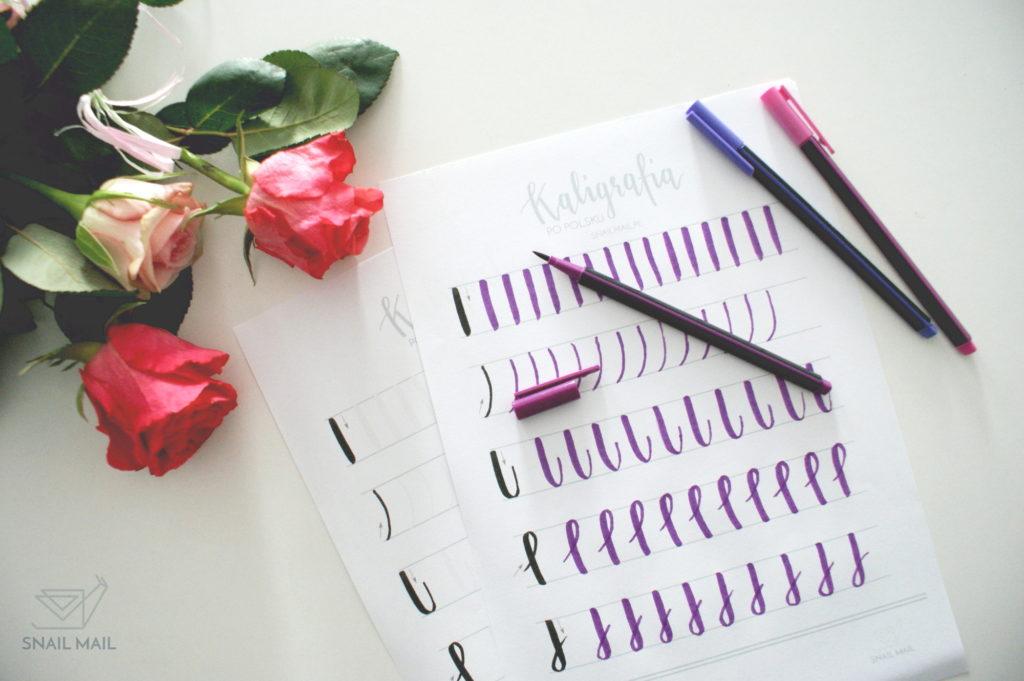 nowoczesna kaligrafia brush pen ćwiczenia