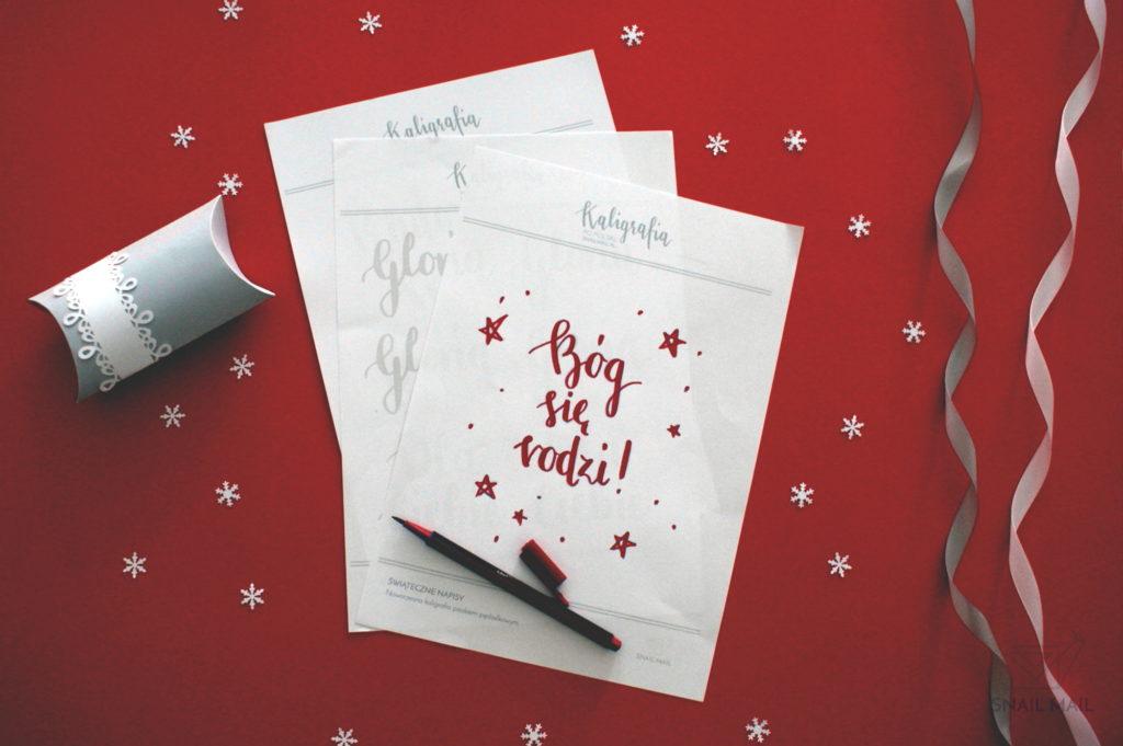 kaligrafia brush pen świąteczne napisy pobierz szablon