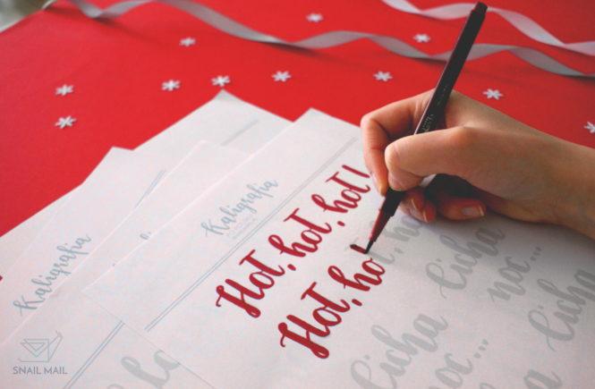 kaligrafia brush pen świąteczne napisy tutorial