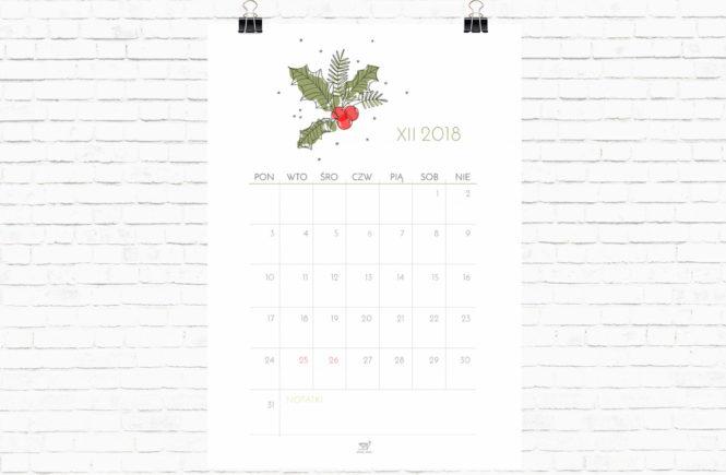 darmowy kalendarz XII 2018 do pobrania freebie